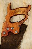 Old Rusty Saw On Wooden Background With Grunge Filter