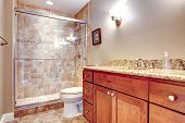 stock photo of toilet  - Brown tones bathroom with glass door shower toilet and wooden cabinets - JPG