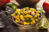 picture of jalapeno  - Fresh Homemade Mango Salsa with Corn Chips - JPG