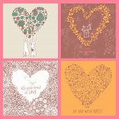 Four romantic backgrounds made of flowers in vector. Bright floral cards with rabbits, birds, hearts