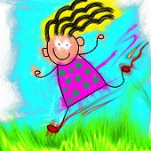 Happy Stick Girl Running