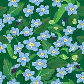 Seamless Pattern With Beautiful Flowers - Forget Me Not - Floral Nature Background.