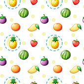 Illustration of a seamless design with fruits on a white background