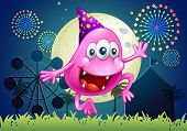 Illustration of a happy pink beanie monster at the carnival