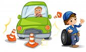 Illustration of a car bumping the traffic cones on a white background