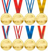 gold medal set with various photo realistic ribbon type isolated on white