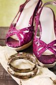 stock photo of mother-of-pearl  - woman shoes and mother of pearl bracelet - JPG