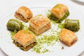 pic of phyllo dough  - Turkish baklava on plate - JPG