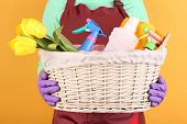 foto of spring-cleaning  - Housewife holding basket with cleaning equipment on color background - JPG