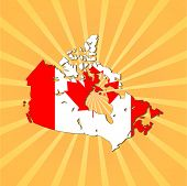 Canada map flag on sunburst vector illustration