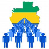 Lines of people with Gabon map flag vector illustration