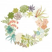 Floral Frame. Cute succulents arranged un a shape of the wreath perfect for wedding invitations and