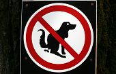 stock photo of dog poop  - a Pooping dog sign - JPG