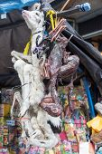 stock photo of fetus  - Dead baby llamas and llama fetuses for sale in the Witches Market in La Paz Bolivia