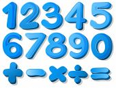 picture of subtraction  - Illustration of a set of blue numbers - JPG