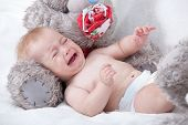 stock photo of crying boy  - Crying Newborn Baby - JPG