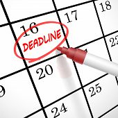 foto of delinquency  - deadline word circle marked on a calendar by a red pen - JPG