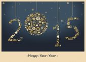 foto of golden  - Happy New Year 2015 greeting card from golden snowflakes - JPG