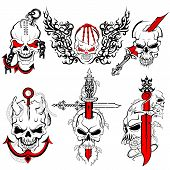 pic of skull bones  - vector illustration of collection of skull tattoo design - JPG