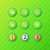 pic of money prize  - Set of bright green game UI vector elements  - JPG