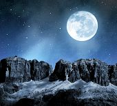 picture of italian alps  - Dolomite peaks Sella in night sky with moon - JPG