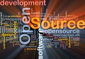 picture of open-source  - Background concept wordcloud illustration of open source license glowing light - JPG