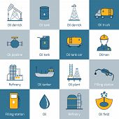 pic of derrick  - Oil gas fuel and petroleum flat line icons set with refinery tanker barrel isolated vector illustration - JPG