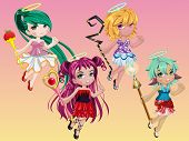 pic of scepter  - Cute goddess dress up flying and hold a scepter on her hand - JPG