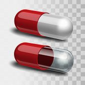 image of paracetamol  - Red and white pill and red and transparent pill - JPG