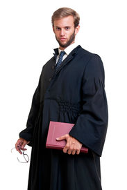 stock photo of toga  - Young lawyer dressed with a toga isolated in white - JPG