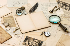 stock photo of inkwells  - antique accessories old letters postcards inkwell and vintage feather ink pen - JPG