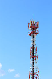 stock photo of antenna  - communication antenna and telecommunication radio antenna and mobile tower communication antenna - JPG