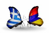 picture of armenia  - Two butterflies with flags on wings as symbol of relations Greece and Armenia - JPG