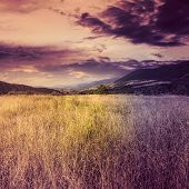 stock photo of marsala  - marsala toned composite mountain summer landscape - JPG