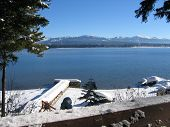 stock photo of dock a lake  - a snow covered dock on the lake - JPG