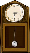 image of pendulum clock  - Wood grain finish grandfather clock cartoon over white - JPG