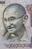foto of gandhi  - Close Up Of An Indian 50 Rupee Note Featuring Mahatma Gandhi - JPG