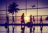 stock photo of palm-reading  - Back Lit Business People Traveling Airplane Airport Concept - JPG
