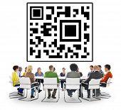 stock photo of qr codes  - QR Code Marketing Data Identity Concept - JPG