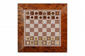 foto of chessboard  - chessboard with pawns as seen from above - JPG