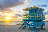 stock photo of lifeguard  - Beautiful Miami South Beach sunrise with lifeguard tower USA - JPG