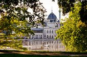 foto of public housing  - Varosliget public city park with reflection in lake Budapest Hungary - JPG