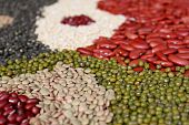 stock photo of urad  - assortment of beans and legumes selective focus - JPG