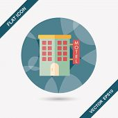 foto of motel  - Building Motel Flat Icon With Long Shadow Design elements for mobile and web applications - JPG