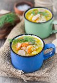 pic of vegetable soup  - chicken soup with barley and vegetables in cups - JPG