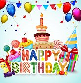 pic of birthday hat  - Vector illustration of Birthday background with birthday cake cartoon - JPG