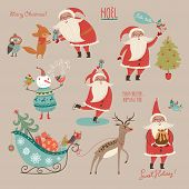 picture of rabbit year  - Christmas and New Year card with Santa and characters - JPG