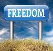 image of democracy  - freedom road sign peaceful free life without restrictions or obligations and peace democracy with text and word concept - JPG