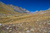 pic of shan  - Scenic valley in Ala Archa national park in Tian Shan mountain range in Kyrgyzstan - JPG