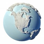 picture of continent  - Winter earth isolated on white background - JPG